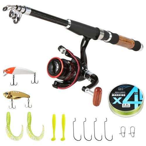 Portable Lure Rod Set Spinning Reel Fishing Rod Combos Full Kit Telescopic Fishing Rod Pole with Reel Line Lures Hooks Fishing Gear Accessories Organizer Image