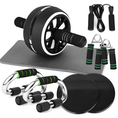 Abdominal Roller Wheel Knee Pad Push up Bars Disc Core Slider Jump Rope Hand Gripper Pack Kit for Home Gym Fitness