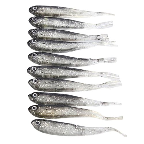 10PCS 8cm Vivid Natural Gray Fake Fish Lure Bait Small Bass Catfish Lure Fish Bait