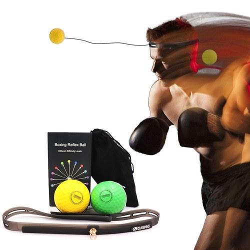 Boxing Reflex Balls with Silicone Fitness Headband Punching Training Balls Set