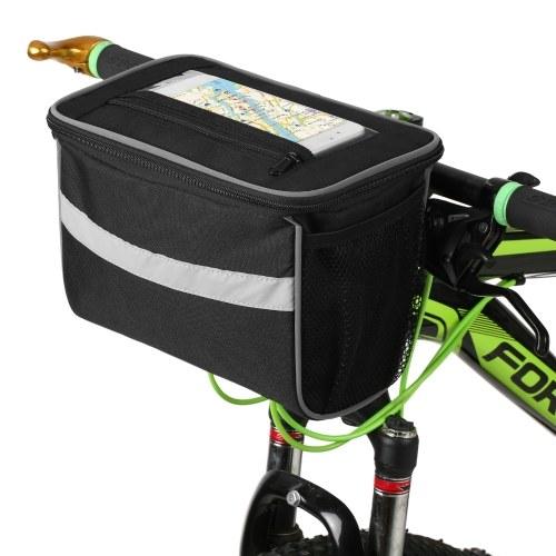 Bicycle Handlebar Bag with Wireless Charging Mobile Phone Holder Bag Charger Bag Cycling Front Bag Bike Pannier Image