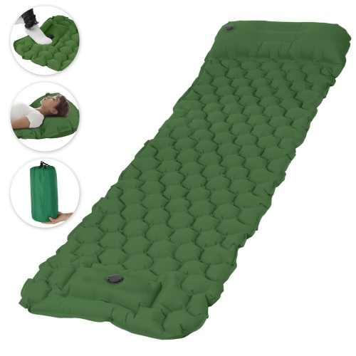 Inflatable Sleeping Pad Mat with Pillow Foot Pump Air Mattress for for Backpacking Hiking Traveling