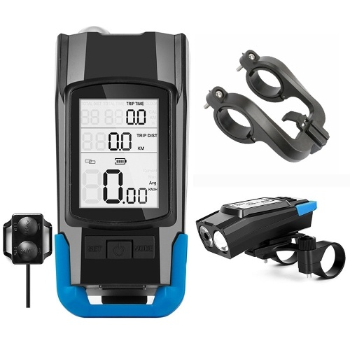 USB 3-in-1 Speedometer + Headlights + Horn Bicycle Computer 3 Mode Horn Flashlight Led Front Lights Cycling Headlight Image