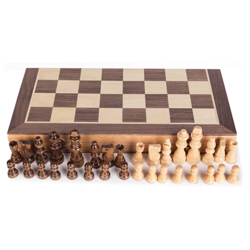 Tablero de ajedrez magnético de madera portátil
