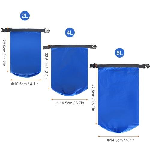 3er Pack Wasserdichte Tasche 2L + 4L + 8L Ultraleichte Trockensäcke für den Außenbereich zum Camping Wandern Reisen Bootfahren Kajakfahren