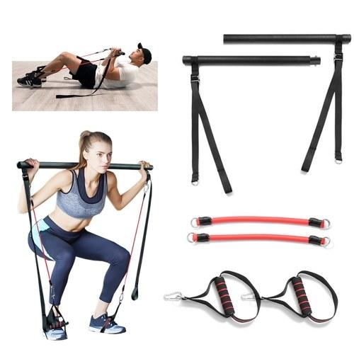 Portable Detachable Pilates Bar Kit with Resistance Bands Handles 60lb/120lb/180lb for Yoga Pilates Full Body Workout Stretch Exercises
