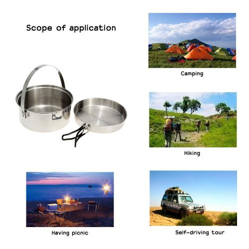 Escursione di campeggio esterna Cookware Backpacking cucina Picnic Pot Set in acciaio inox Cook Set