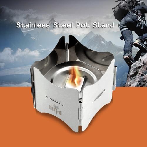 Stufa portatile supporto pentola in acciaio inox con combustibile solido Vassoio pieghevole Stand