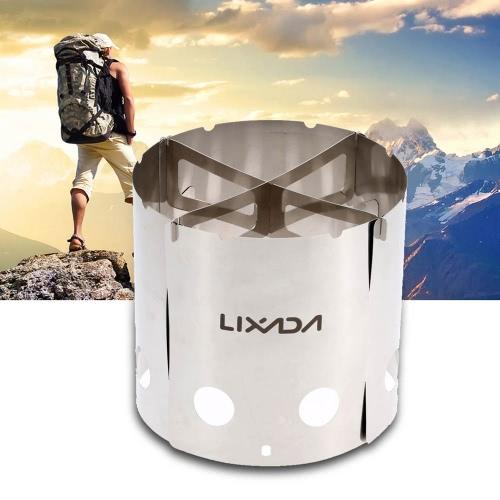 Stufa a legna leggera di Lixada portatile in acciaio inox Outdoor Campeggio Picnic zaino in spalla stufa di cucina