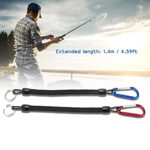 2pcs 1,4 m en espiral Fish perdió cuerda pescado poste barra Protector elástico cuerda línea herramienta de pesca