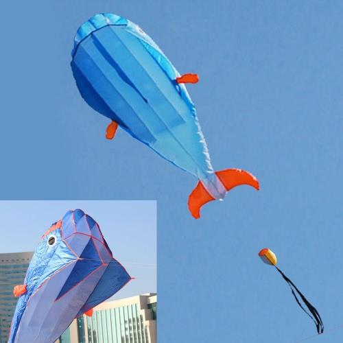 3D Dolphin Kite Huge Frameless Weiche Parafoildrachen mit Griff Linie Outdoor Sports