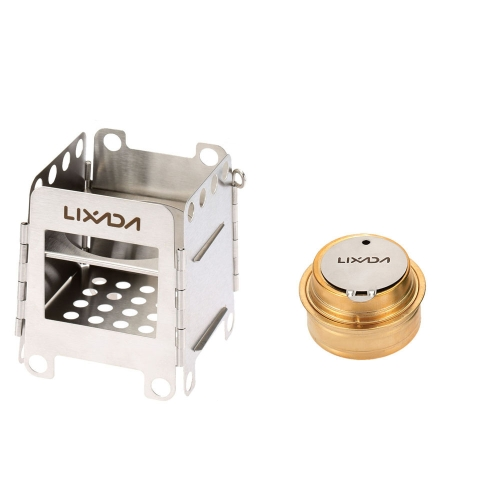 Camping Stove,Lixada Stainless Steel Folding Wood Stove + Alcohol Burner Pocket Stove for Outdoor Camping Cooking Picnic