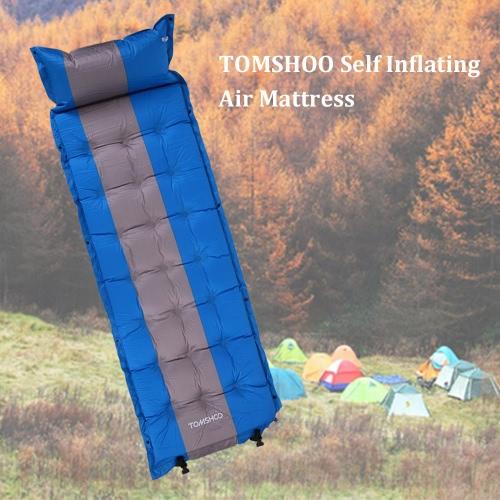 TOMSHOO 1人用 エアピロー付 エアマット キャンプ マット キャンプマット 自動膨張式 インフレータブル 発泡 軽量 コンパクト 車中泊