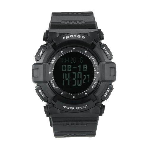 SPOVAN Multifunktionale 5ATM Climbing-Digital-Sport-Uhr-Armbanduhr Pedometer Altimeter Barometer-Thermometer-Kalender Weltzeit