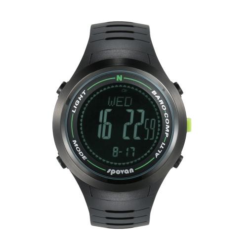 SPOVAN 5ATM multifunzionale orologio sportivo Altimetro Barometro Termometro Bussola digitale Previsioni Meteo Contapassi