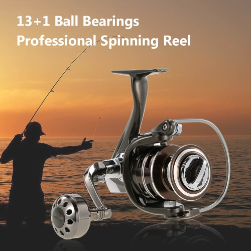 13+1BB Ball Bearings Aluminum Alloy Professional Fishing Reel Spinning Reel Fishing Tackle Left/Right Convertible Collapsible Handle