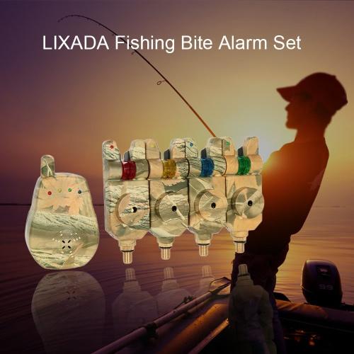 Lixada Wireless-LED-Fischen-Warnungs-Alarm-Set mit Fall 4 Angeln Bissanzeiger + 1 Empfänger