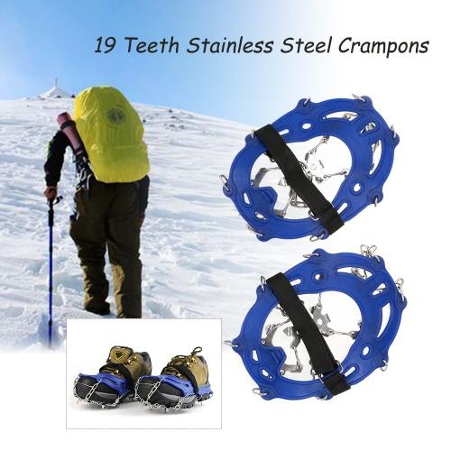 19 dientes de acero inoxidable Grapas la correa de nylon antideslizante cubierta de los zapatos al aire libre del esquí de la nieve de hielo Dispositivo de senderismo