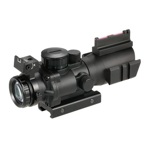 4x32 Prism Red/Green/Blue Tri-Illuminated Tactical Reticle Riflescope Fiber Optic Sight Compact Hunting Scope