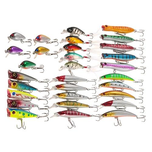 30pcs formato Assorted ciprinidi Wobbler mosca esche da pesca Crankbaits Popper Carp Fishing dure artificiali esche kit di pesca Accessori Swimbaits