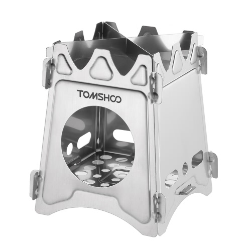 TOMSHOO Acciaio inossidabile portatile in acciaio inossidabile pieghevole Legna Stufa Stufa a tasca Outdoor Camping Cooking Picnic Backpacking Stove