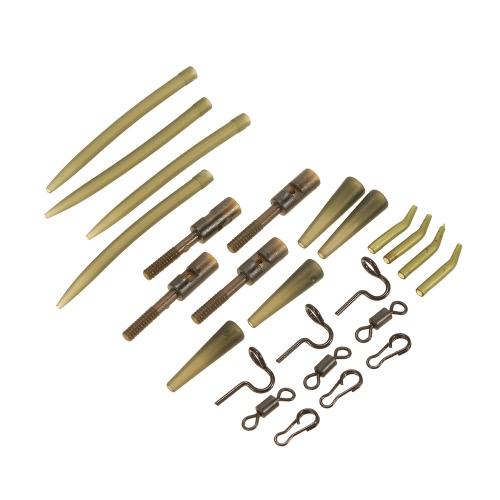 Lixada 160pcs Kit di accessori per la pesca Set di sicurezza Piombo Clip Tubi di gomma Maniche Rolling Swivels Snap clip con perni Tappeto di pesca di carpa
