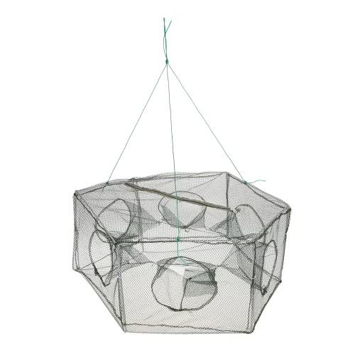 Складная рыболовная сеть Шестигранник 6-луночная рыбацкая сеть Креветка Кейдж-ловушка Minnow Crab Baits Mesh Trap Net