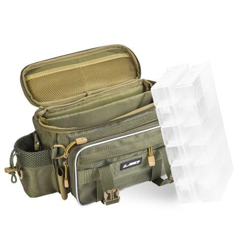 Многофункциональный рыболовный снасти сумка Открытый спорт Одноместный плеча сумка Crossbody сумка Талия Pack Рыбалка Приманки Снастилка Gear Утилита хранения сумка с 2 рыболовные снасти Box Служебный чехол фото