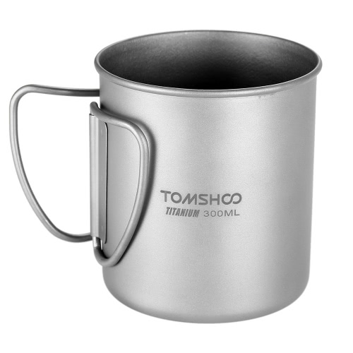 TOMSHOO 300ml Titanium Cup Outdoor Portable Camping Picknick Wasser Tasse Becher mit Faltbarer Griff