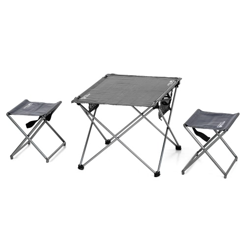 Outdoor Foldable Camping Picknick-Tische Portable Compact Lightweight Falten Roll-up-Tisch mit 2 Klappstühlen Hocker für Travel Beach Picknick-Party