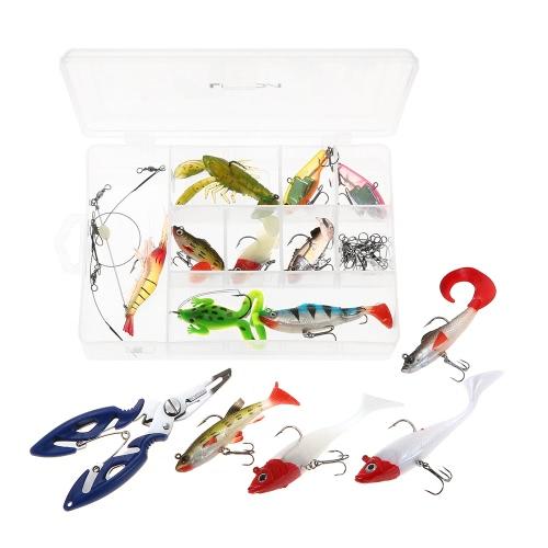 Lixada 34PCS Assorted Pesca Morbida Soft Lures Pesca pinze Kit girevole pesca Tackle Set con custodia