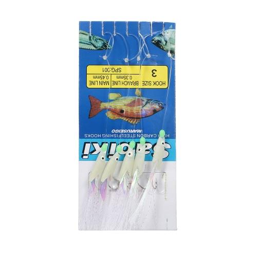 5 pacchetti di pesci luminosi 25PCS Rigs di esca di Sabiki Baits di pesca di richiamo dei pesci di pesce d'acqua dolce dell'acqua dei pesci di mare di Sabiki Rigs di pesca del gancio di pesca con il connettore di scatto