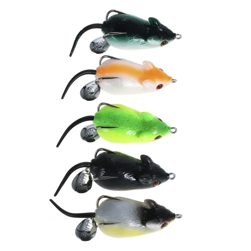 5PCS Mouse Fishing Lure Freshwater Mice Fishing Bait Set Top Water Bait Kit Fishing Tackle Snakehead Bait