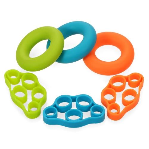 6pcs / lot Muskel-Energien-Trainings-Silikon-Griff-Ring-Übungsgerät-Satz-Stärke-Finger-Hände Griff-Verstärker-Übungs-Ringe Eignung-Muskulations-Ausrüstung