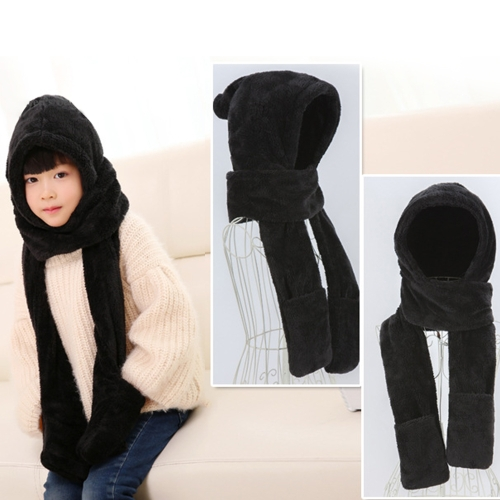 Родительский стиль Осенняя и зимняя коллекция Cute Extra Thick and Long Comfortable Warm Female Neck Scarf Hat Gloves Three Pieces in One