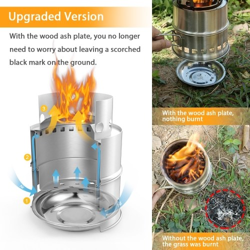 TOMSHOO Portable Folding Windproof Wood Burning Stove Upgraded Version Two