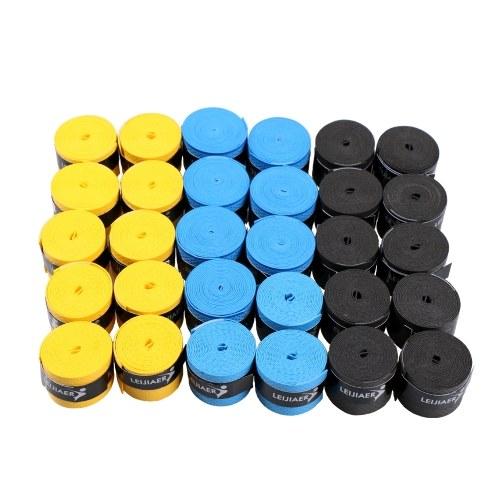 Пакет 30шт. Теннисная ракетка Overgrips Anti-skid Sweat Tape Wraps Ракетка для бадминтона над захватом Уловка для удочки Sweat Band Grip фото