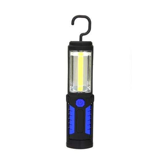 Portatile PANNOCCHIA LED lavoro luce magnete Garage torcia elettrica Stand appeso Flash Light Pieghevole lampada torcia con gancio per auto riparazione Sport campeggio esterno casa officina caccia (di batterie AA rosso)