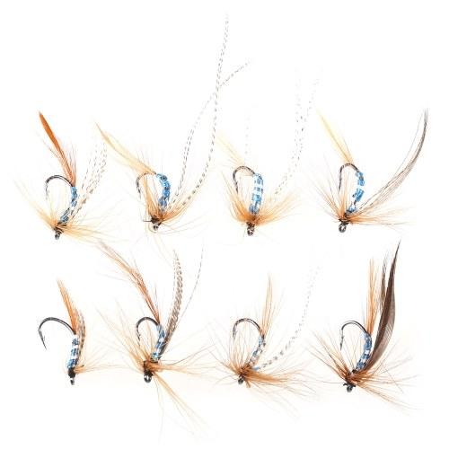 32pcs Fliegenfischen Lure Set künstliche Köder mit Haken Carbon Steel Insect Fly Fishing Hooks