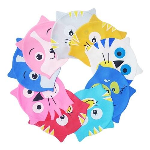 Kid Swimming Cap Silicone Ultra Stretch impermeable cómodo Fish / Cat forma de sombrero para niña y niño