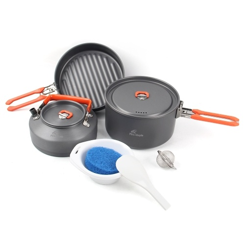 Outdoor Camping 7Pcs Cookware Set Hiking Backpacking Picnic Cooking Pot Frypan Kettle Set with Foldable Handle for 2 - 3 People
