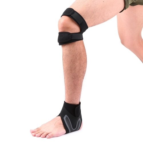 1 Paar Knie- und Sprunggelenkstützen Set atmungsaktiv einstellbar Dual Strap Neopren Knie Sprunggelenkstütze