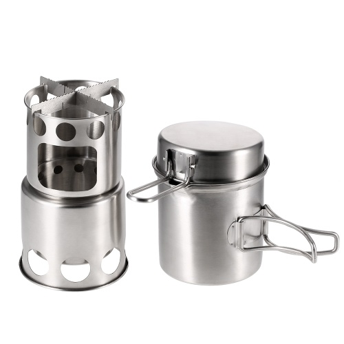 Portable Camping Stove Combo Wood Burning Stove and Cooking Pot Set for Outdoor Backpacking Fishing Hiking