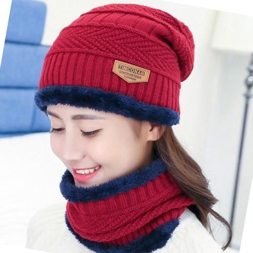 Sombrero Heanie de punto térmico de invierno y bufanda circular