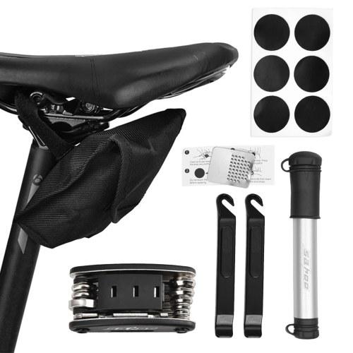 Portable Mountain Bike Repair Tools Kit Bicycle Repair for Multipurpose Emergency Tire Repair Set 16 in 1 Bicycle Repair Multifunctional Tool Set Mini Bike Pump Bike Maintenance Tool with Bag