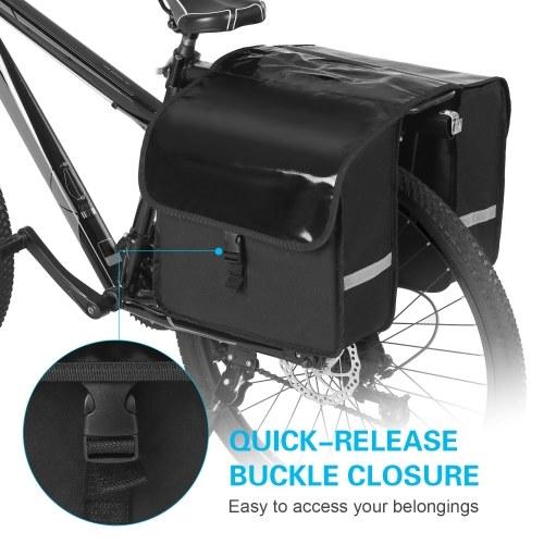 28L Water Resistant Bicycle Rear Seat Carrier Bag Rack Trunk Bags Bike Commuter Bag Pannier Image