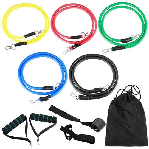 11pcs Fitness Resistance Bands Set Workout Exercise Tube Bands with Door Anchor Ankle Straps Cushioned Handles Carry Bags for Home Gym Travel