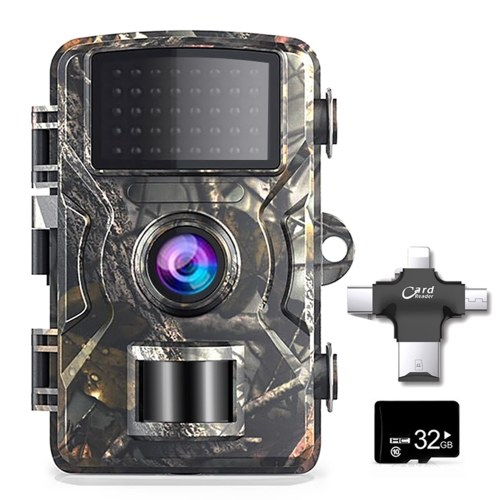 12MP 1080P Wildlife Hunting Trail  Outdoor Infrared Night Vision Hunting Scouting Camera with 32GB TF Card and 4-in-1 Card Reader