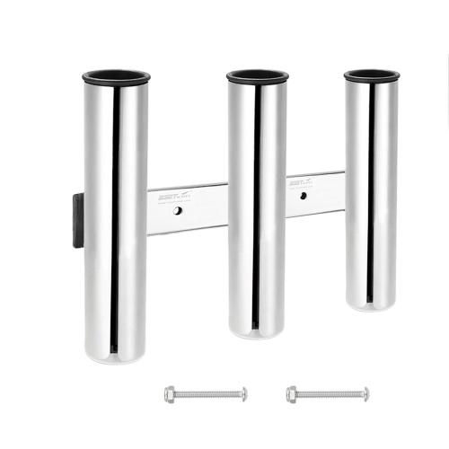 Suportes para vara de pesca para varas de aço inoxidável com 3 tubos Racks para hastes de montagem em trilhos Alicate para isca Suporte para armazenamento