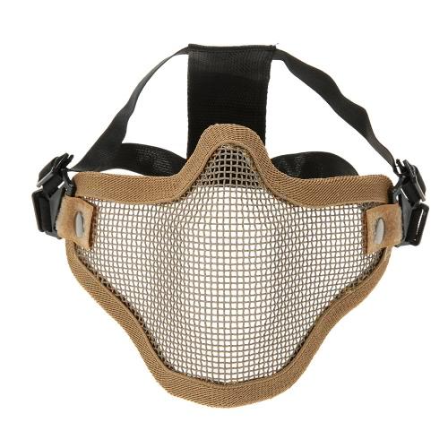 Untere halbe Gesichtsmaske aus Metall Stahlnetz Masche taktische Jagd Military Airsoft Schutzmaske